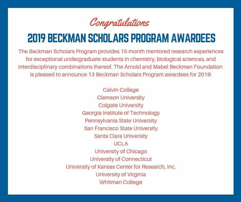 Beckman Foundation Announces 2019 Beckman Scholars Program Awardees