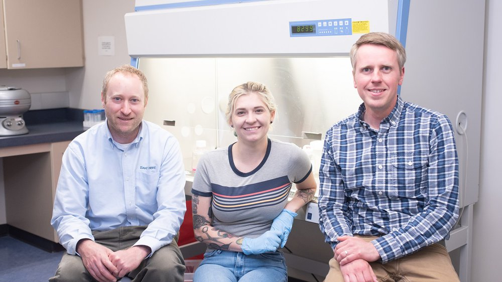 LeeAnn Hold, Mentors Peter Fuerst and Nathan Schiele, photo credit University of Idaho